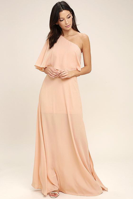 Blush Wedding Dress Petite : Angelic way blush one shoulder maxi dress petite looloo