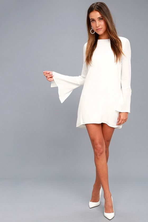 Baby It S Cold Outside Shift Dress: BE THE ONE WHITE LONG SLEEVE BACKLESS SHIFT DRESS